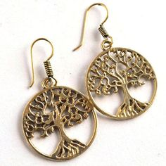1 Pair Gold Plated Tree Design Earring,Pretty Earring,Women Unique Earring#465 #dhorgems #Hoop