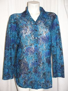 CHICO'S DESIGN Womens Top Blue Purple Lace Sheer LS Button Up Shirt Size 3 XL #Chicos #STretchPolyLace #Casual