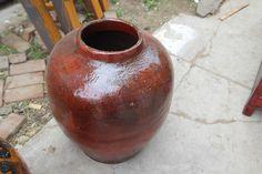 Antique oil barrel red