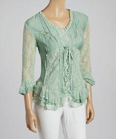 Loving this Aqua Lace-Up V-Neck Silk-Blend Top on #zulily! #zulilyfinds