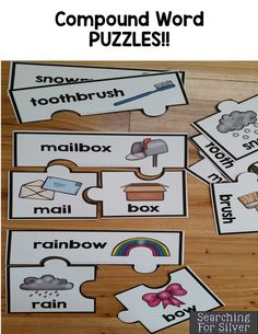 Compound Word puzzles and lots of other fun, interactive math and literacy centers!