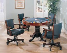 100201-02 5 pc mitchell man cave cherry finish game room table set, poker, bumper pool, dining table Dinner Tables Furniture, Game Table And Chairs, Game Room Tables, Pool Table Dining Table, Table Games, Dining Chair, Bumper Pool Table, Multi Game Table, European Furniture