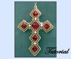 Lovely pierce of beadwork. CRAW Cross by Paula Adams AKA Visions by Paula Beaded Anklets, Beaded Earrings, Beaded Jewelry, Beaded Bracelets, Jewellery, Necklaces, Cross Patterns, Beading Patterns, Color Patterns