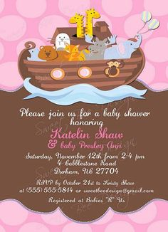 Noah's Ark Invitation Baby Birthday by SweetBeeDesignShoppe. Cute invite for a baby shower