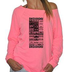 Womens Cassette Tape Decisions Terry Fleece Sweatshirt - 5 Colors - S to XXL