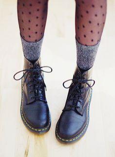 black polka dots stockings, grey knee length socks and doc martens