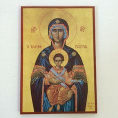 Our Lady Theotokos - Mother Of God - handmade orthodox byzantine icon Byzantine Icons, Our Lady, Christian, Etsy Shop, Baseball Cards, Handmade Gifts, Mary, Painting, God