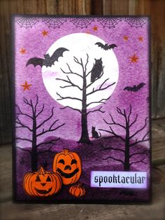 My Paper Epiphany: Winnie & Walter August Blog Hop - spooktacular Halloween card by Jenny Martin featuring stamps from Moonlight, A Tree for All Seasons, and the little cat from This Awesome House. #winniewalter
