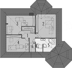 Rzut poddasza projektu Tulipan G2 House With Porch, Home Fashion, Outdoor Living, Floor Plans, House Styles, American Houses, Flats, Outdoor Life, The Great Outdoors