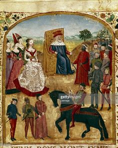 Fine art : Charles the Bold, Valois Duke of Burgundy meets his third wife, Margaret of York. Miniature from De Rebus Gestis Alexandri Magni (Life and Exploits of Alexander the Great), by Quintus Curtius Rufus (1st century AD).