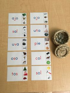 Montessori inspired language activity: Made three letter word cards for my daughter to sound out each letter and prepare her for reading.