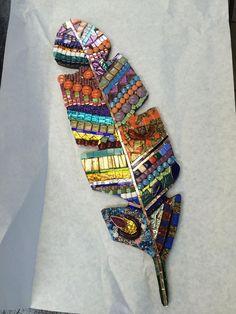 Magnificent Mosaic Feather glass & ceramic mosaic by Heidi Borchers $125
