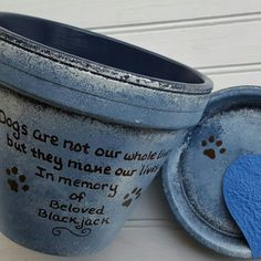 Pet Memorial Planters by HappyMooseGardenArt.Etsy.com