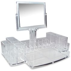 Store your cosmetics and personal beauty supplies in this versatile organizer with mirror.