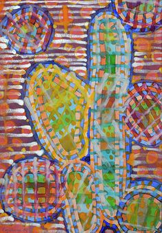 Cacti-like by Heidi Capitaine #Art#Artist#Painting#Contemporary#Watercolour#Abstract#FineArt#WallArt#Cacti#Colorful#Round#Stripes#Colorful