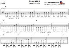 Acoustic flatpicking blues - guitar riff tab 6