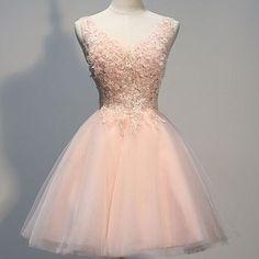 charming homecoming dress, beading homecoming dress v-neck short prom dress