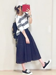 Ideas For Style Hijab Casual Long Skirts Long Skirt Fashion, Modest Fashion, Hijab Fashion, Korean Fashion, Fashion Outfits, Apostolic Fashion, Modest Clothing, Fashion Top, Womens Fashion