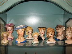 Why do they all have their eyes closed 7 Lady Head Vases 750.00 eBay