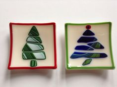 Set of 2 Fused Glass Christmas Tree Plates