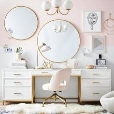 And finally, a large desk and towers set you can use as a vanity, a wardrobe, and a workspace.all at the same time. Look at you, you multi-tasking master. Teen Bedroom Designs, Room Ideas Bedroom, Classy Bedroom Ideas, Small Room Bedroom, Aesthetic Bedroom, My New Room, Interiores Design, Decoration, Preteen Bedroom