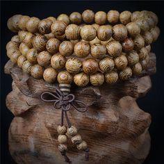 Sandalwood Buddhist Meditation 108 Prayer Bead Mala Bracelet