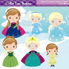 Snow Princess Clipart for Personal and by CeliaLauDesigns on Etsy, $5.00