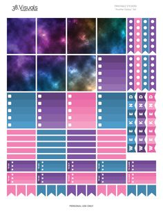 FREE PLANNER STICKERS | Erin Condren - Another Galaxy Set - Printable Stickers by 38.Visuals  #free #plannerstickers #planner #stickers #addict #community #freebie
