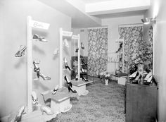Interior of a shoe shop showing a range of female footwear on display. Retro Heels, Saddle Shoes, Old Soul, Pin Up Style, Shoe Shop, Footwear, Range, Display, Female