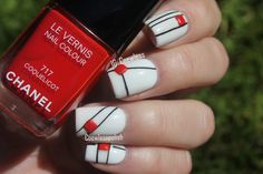 White, red and black geometric nails by Eva #Coewless. #manimonday #inspiration