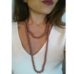 Collar Perla Cristal Marrón Chocolate