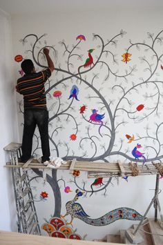 Kalamkari wall installation at Armieda Spa, Ahmedabad, Gujarat - CraftCanvas Diy Wall Painting, Madhubani Painting, Mural Painting, Kalamkari Painting, Deco Luminaire, Madhubani Art, Wall Drawing, Mural Wall Art, Wall Installation