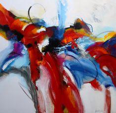 Strijdlustig, een kleurrijk positief abstract schilderij van Jos van Beek. 130x130 cm. Art Gallery, Design, Inspiration, Painting, Abstract Art, Kunst, Art, Beek, Abstract