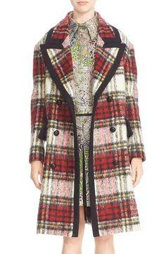 Burberry Prorsum Tartan Plaid Wool Blend Coat
