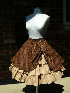 Custom steampunk ruffle skirt with drawstring bustle $215.00