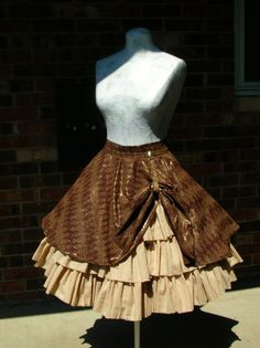 Custom steampunk ruffle skirt with drawstring bustle $215.00