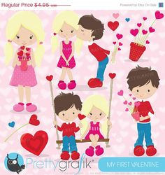 60% OFF SALE Valentine kids clipart commercial use, valentine vector graphics, digital clip art, digital images - CL632 #valentine's day #prettygrafik