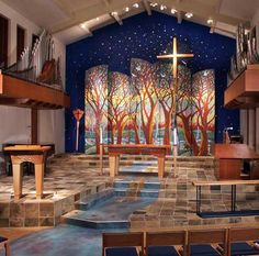 Nave of Christ Lutheran Church (ELCA) Pacific Beach CA, inspired by the Books of Ezekiel and Revelation.