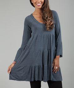 Look at this #zulilyfind! Gray Scoop Neck Peasant Dress by Anabelle #zulilyfinds