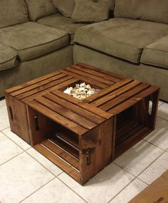 DIY coffee table wine crates varnished