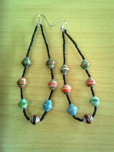 lovely African-made earrings from paper beads