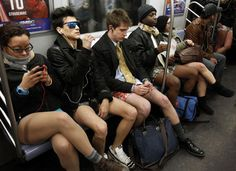 People join in the 10th Annual No Pants Subway Ride in New York City