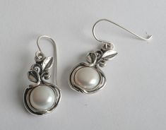 Hot Silver Earrings Dangle 10mm Round Cabs Pearl Jewelry Vintage 100% Solid Fashion for Women Shablool Didae