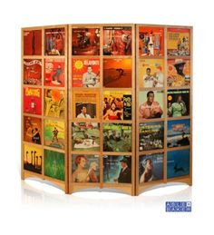 tri-fold room divider; has 30 12 x 12 slots on each side - - LPs, mirrors, scrapbook pages, whatever