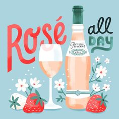 "376 Likes, 3 Comments - Alyssa Nassner (@alyssanassner) on Instagram: ""Something quick 'n pretty to wrap up the evening. #rosé #illustration #lettering #roséallday"""