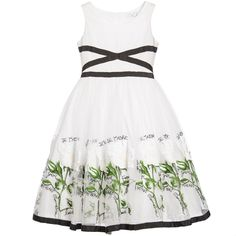 Monnalisa White Embroidered & Green Floral Tulle Dress at Childrensalon.com
