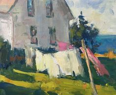 Laundry Day, Monhegan by Richard Oversmith Oil ~ 10 x 12 Laundry Art, Laundry Room, Monhegan Island, Cottage Art, Impressionist Art, Mini Paintings, Beautiful Paintings, Artist Art, Home Art