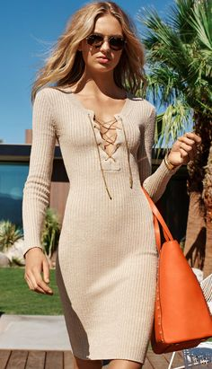 MICHAEL MICHAEL KORS Ribbed Lace-Up Dress