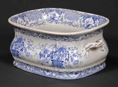 spode white ironstone | 19th century blue and white transfer printed foot bath, with ...
