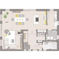 offene k che mit bodenfliesen und esszimmer mit laminat. Black Bedroom Furniture Sets. Home Design Ideas